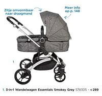 3-in-1 wandelwagen essentials smokey grey-Dreambee