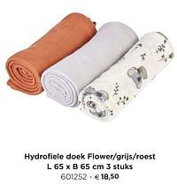 Hydrofiele doek flower-grijs-roest-Dreambee