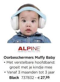 Oorbeschermers muffy baby black-Alpine