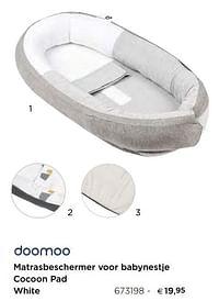 Matrasbeschermer voor babynestje cocoon pad white-Doomoo