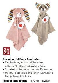 Slaapknuffel baby comforter racoon robin grijs-Zazu