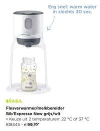Beaba Flesverwarmer-melkbereider bib`expresso new grijs-wit-Beaba