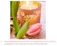 Roze theelichthouder met motief van magnolia-boom-Huismerk - Ava