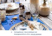 Koningsblauwe gala-tafelloper met linnengevoel-Gala