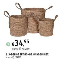 3-delige set ronde manden riet-Huismerk - Dreamland