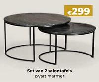 Set van 2 salontafels zwart marmer-Huismerk - Euroshop