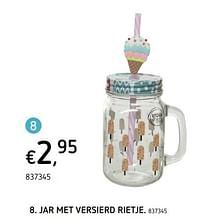 Jar met versierd rietje-Huismerk - Dreamland