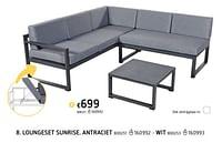 Loungeset sunrise. antraciet-Huismerk - Dreamland