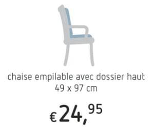 Chaise empilable avec dossier haut