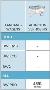 Aluminium verhoging bw pro-BW Trailers