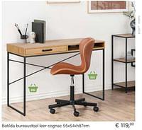 Batilda bureaustoel leer cognac 55x54xh87cm-Huismerk - Multi Bazar