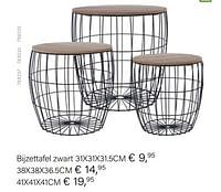 Bijzettafel zwart-Huismerk - Multi Bazar