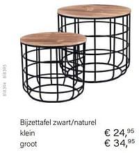 Bijzettafel zwart-naturel-Huismerk - Multi Bazar