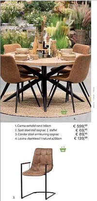 Condor stoel armleuning cognac-Huismerk - Multi Bazar