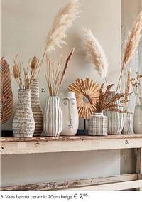 Vaas barolo ceramic 20cm beige-Huismerk - Multi Bazar