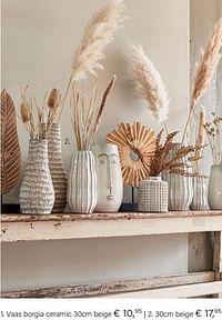 Vaas borgia ceramic 30cm beige-Huismerk - Multi Bazar