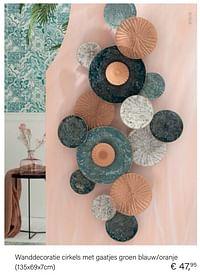 Wanddecoratie cirkels met gaatjes groen blauw-oranje-Huismerk - Multi Bazar