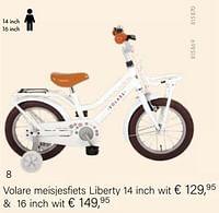 Volare meisjesfiets liberty 14 inch wit-Volare