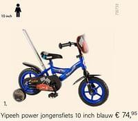 Yipeeh power jongensfiets 10 inch blauw €-Yipeeh