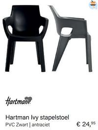 Hartman ivy stapelstoel pvc zwart antraciet-Hartman