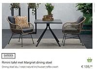 Margriet dining stoel alu - rotan naturel incl kussen reflex zwart-Garden Impressions