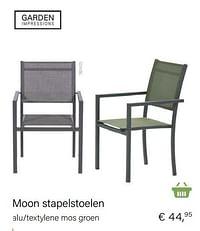 Moon stapelstoelen alu-textylene mos groen-Garden Impressions