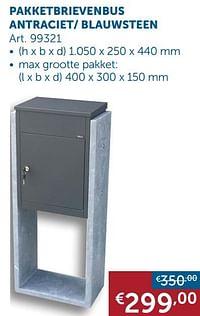 Pakketbrievenbus antraciet- blauwsteen-Huismerk - Zelfbouwmarkt