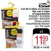 Lot de 5 slips ou boxers-Dim