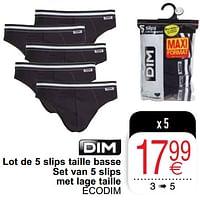 Lot de 5 slips taille basse-Dim