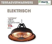 Terrasverwarmers elektrisch artemis-Practo