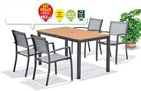 Tafel en 4 stoelen-Garden Plus