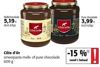 Côte d`or smeerpasta melk- of pure chocolade-Cote D