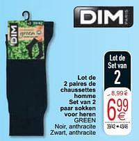 Lot de 2 paires de chaussettes homme set van 2 paar sokken voor heren green-Dim