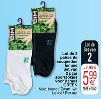 Lot de 2 paires de socquettes femme set van 2 paar sportsokjes voor dames green-Dim