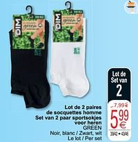Lot de 2 paires de socquettes homme set van 2 paar sportsokjes voor heren green-Dim