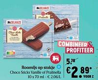 Roomijs op stokje choco sticks vanille of pralinella-Huismerk - Delhaize