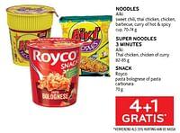 4+1 gratis noodles aïki sweet chili, thaï chicken, chicken, barbecue, curry of hot + spicy cup-Aiki