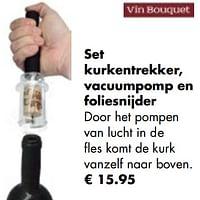 Set kurkentrekker, vacuumpomp en foliesnijder-Vin Bouquet