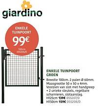 Enkele tuinpoort-Giardino