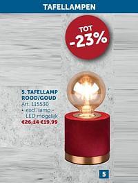 Tafellamp rood-goud-Huismerk - Zelfbouwmarkt