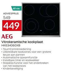 Aeg vitrokeramische kookplaat hk634060xb-AEG