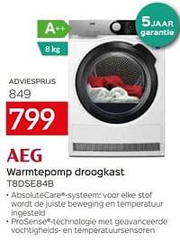 Aeg warmtepomp droogkast t8dse84b-AEG