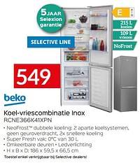 Beko koel-vriescombinatie inox rcne366k41xpn-Beko