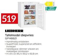 Liebherr tafelmodel diepvries gp148621-Liebherr