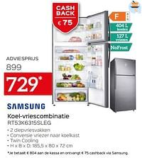 Samsung koel-vriescombinatie rt53k6315sleg-Samsung