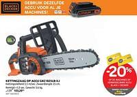 Kettingzaag op accu gkc1825l20-xj black+decker-Black & Decker