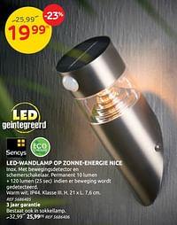 Led-wandlamp op zonne-energie nice-Sencys