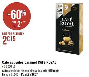 Café capsules caramel cafe royal