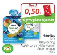 Naturnes bio babyvoeding appel -banaan- blauwbes of appel - granen-Naturnes