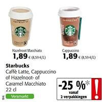 Starbucks caffè latte, cappuccino of hazelnoot- of caramel macchiato-Starbucks